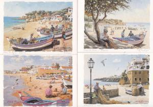 Elderly OAP Crafts Fish Net Maker Boat Workers Portugal 4x Postcard s