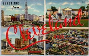 CLEVELAND Ohio Large Letter Postcard Multi-View 4 Scenes Curteich Linen 1956