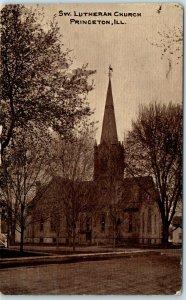 Princeton, Illinois Postcard SWEDISH LUTHERAN CHURCH Building. Street View 1910s