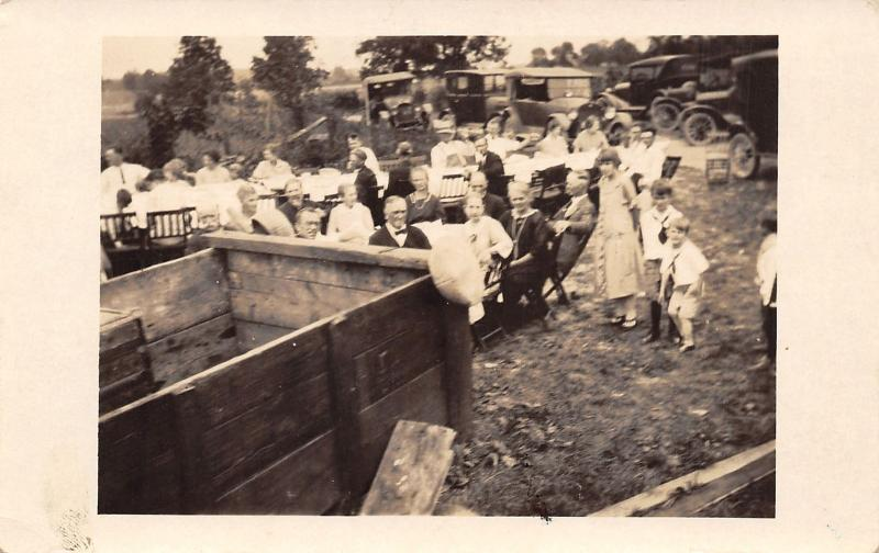 Real Photo Postcard~Aunt Jennie's Party~Long Outdoor Tables~Vintage Cars~1924 RP