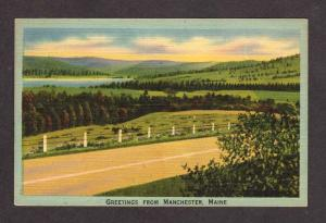 ME Greetings from MANCHESTER MAINE Postcard Linen PC