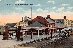 Wisconsin Train Postcard C & NW Depot Sheboygan, Wis., USA 1916