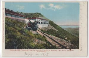 Summit of Mt. Tamalpais California CA Mountain Train Leaving Tavern Postcard