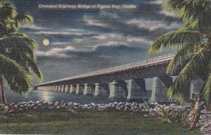 Florida Keys Overseas Highway Bridge At Pigeon Key By Moonlight 1952 Curteich