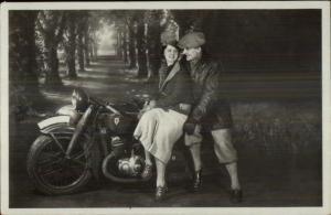 Couple on Motorcycle Posing - Studio Real Photo Postcard