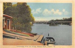 Nottawasaga River & Bridge, Wasaga Beach, Ontario, Canada ca 1930s Postcard