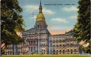 Lansing MI Michigan State Capitol Linen Postcard used 1948