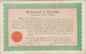 Vintage Arcade Card Humour Reformers License
