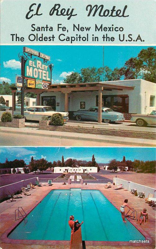 1950s El Rey Motel Santa Fe New Mexico Autos Pool McGarr postcard 6097