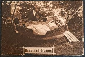 """Vintage Postcard Used Couple Hammock """" Beautiful Dreams."""" LB"""