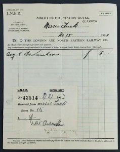1933 North British Station Hotel Luncheon Receipt London Eastern Railway Glasgow
