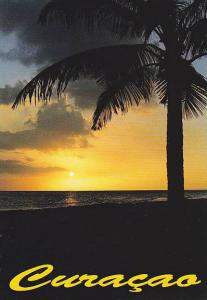 Beautiful Sunset over the ocean horizon, Curacao, Netherlands Antilles, 50-70s