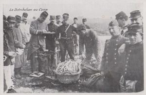 Food Rationing Distribution Au Camp WW1 Antique French Military Postcard