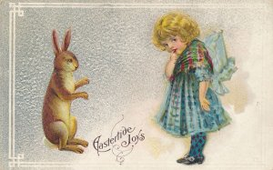 Easter Greetings - Rabbit and Cute Girl - RPO NY & SALA 1912 - DB