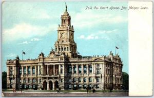 Des Moines, Iowa Postcard POLK COUNTY COURT HOUSE Building View c1900s Unused