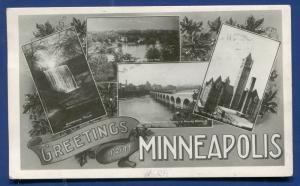 Minneapolis Minnesota mn Greetings multi-view real photo postcard RPPC