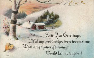 Vintage New Year Greetings Postcard Birch Tree and Winter Farm House