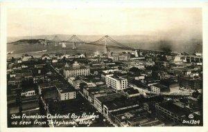 Aerial San Francisco California Oakland Bay Bridge 1930s RPPC Zan Postcard 7320