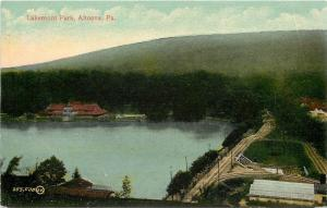 Altoona PA~Lakemont Park~Railroad Tracks Birdseye~Boat House~1910 Postcard