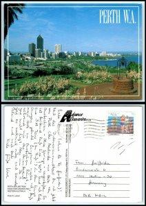AUSTRALIA Postcard - Perth Skyline From Kings Park Wishing Well AH