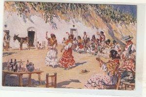M.Bertuchi. gYPSY DANCE. zAMBRA gITANAr Fine painting, vintage Spanish PC