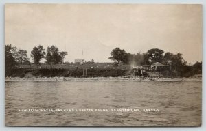 Searsport Maine~Crowded Parker's Lobster Pound Diner~Waterfront~1920s RPPC