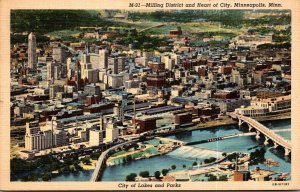 Minnesota Minneapolis Milling District and Heart Of The City 1944 Curteich