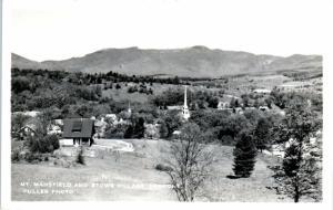 RPPC  STOWE VILLAGE, VT  Vermont   VILLAGE & Mt Mansfield c1950s Fuller Postcard