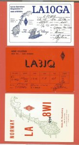 QSL AMATEUR RADIO CARDS – NORWAY – 3 DIFFERENT CARDS – 1976-1979 (6)