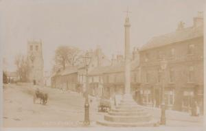 Autumn Morning at Bedale Cross Yorkshire Antique Real Photo Postcard
