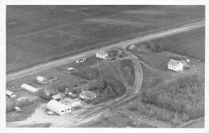 F56/ Sparks Nebraska RPPC Postcard Birdseye School Gas Station