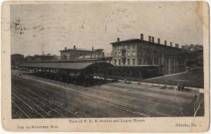 Altoona PA 1910 View of P.R.R. Train Station and Logan House Blair UDB Postcard