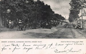 Onset Ave., Looking South, Onset Bay, Mass., Early Postcard, Used in 1905