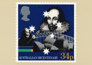 Australian Bicentenary Stamp postcard 34p , #2