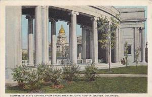 Glimpse of State Capitol from Greek Theatre, Civic Center, Denver, Colorado, ...