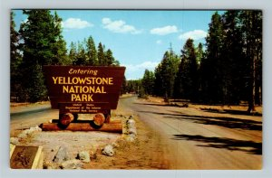 Yellowstone National Park WY, Sign At Entrance, Chrome Wyoming Postcard