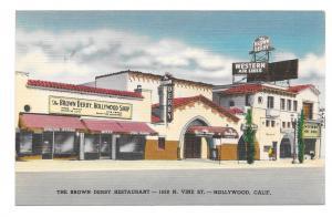 CA Hollywood Brown Derby Restaurant and Shop Vine St California Linen Postcard