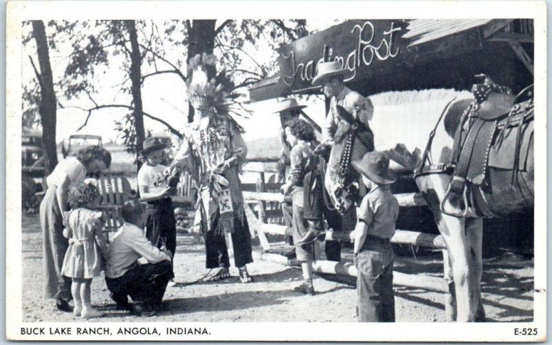 1950s Angola, Indiana Postcard BUCK LAKE RANCH Kids & Indian Pioneer Town Unused