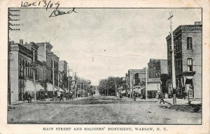 LPS22 Warsaw New York Main Street and Soldiers' Monument Town View Postcard