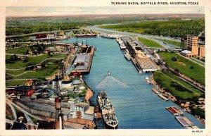 Texas Houston Buffalo River Ship Channel Turning Basin 1946 Curteich