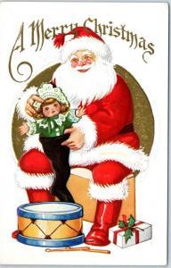 Christmas Embossed Postcard SANTA CLAUS Red Suit w/ Doll & Toys c1910s UNUSED