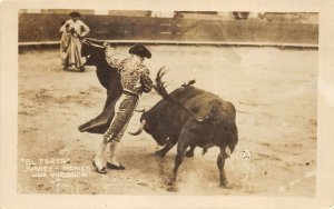 Juarez Mexico 1925 RPPC Real Photo Postcard El Toreo Matador Bull Fight