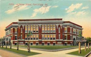 Fort Wayne Indiana~Jefferson School~Homes Down Street~1911 Postcard