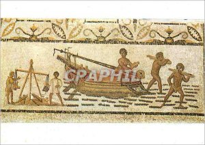 Postcard Modern Museum of Bardo Mosaic Unloading a Ship III century AD Cartha...
