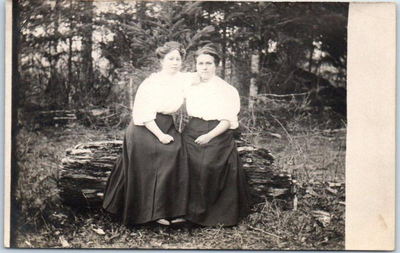 Vintage RPPC Real Photo Postcard 2 Young Women Sisters on Log c1910s Unused