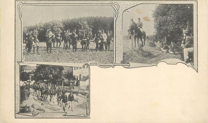 WW I military men soldiers infantry uniforms cavalry multi views postcard