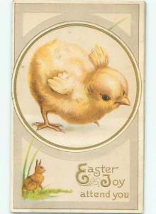 Pre-Linen Easter BUNNY RABBIT UNDER BIG PUFFY FLUFFY CUTE CHICK AB3967