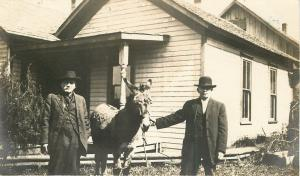Two Men And A Donkey: Compliments of Three Jacks~Real Photo Postcard c1913