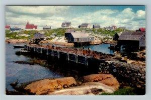 Halifax NS- Nova Scotia, Peggy's Cove, Scenic Dock and town, Chrome Postcard