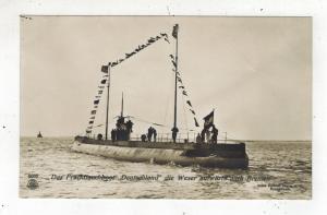 Mint WW 1 Germany RPPC Postcard U Boat Submarine Deutschland at Sea Bremen